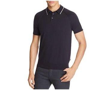 MICHAEL KORS Tipped Collar Knit Polo Shirt Navy L